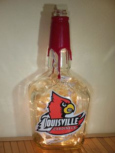 What about this with Kentucky symbol and paint the wax blue? University Of Louisville, Louisville Kentucky, Gifts For Hubby, Louisville Cardinals, Makers Mark, Own Home, I Card, Whiskey Bottle, March Madness