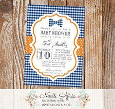 Dark Blue Gingham and Orange Bow tie Little Man Baby Shower or Birthday invitation