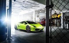 Wallpaper lamborghini, gallardo, green, garage