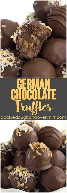 German Chocolate Truffles - you know the german chocolate cake filling? That is inside of these truffles along with some german chocolate to firm them up. I went a step further and toasted the coconut(Chocolate Truffles) Cake Truffles, Chocolate Truffles, Chocolate Desserts, Chocolate Chocolate, Coconut Chocolate, Delicious Chocolate, German Chocolate Fudge Recipe, Diy Truffles, German Chocolate Cake Cookies
