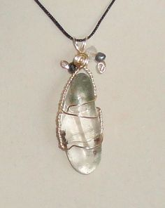 Wire Wrapped Lodolite Stone Pendant by CrystalLinda on Etsy