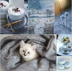 Winter Blue and White Color Collage, Mood Colors, Beautiful Collage, Photo Images, Winter Scenes, Colour Schemes, Winter Christmas, Belle Photo, Mood Boards