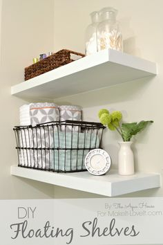 DIY Home Improvement Projects On A Budget - DIY Floating Shelves - Cool Home Improvement Hacks, Easy and Cheap Do It Yourself Tutorials for Updating and Renovating Your House - Home Decor Tips and Tricks, Remodeling and Decorating Hacks - DIY Projects Diy Projects Cans, Diy Home Decor Projects, Craft Projects, Decor Ideas, Joanna Gaines, Diy Corner Shelf, Baby Dekor, Floating Shelves Bedroom, Tutorial Diy