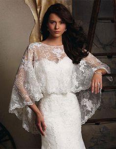 Blu Bridal by Mori Lee. Gorgeous lace high/low cape.