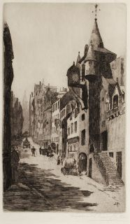 Canongate, Edinburgh by Susan Fletcher Crawford (d. 1919) ​Signed in pencil lower right, initialled in the plate Etching In a cream conservation grade mount (matt) In very good condition, as illustrated Plate: 30.4 x 17.5 cm; Mount: 48.4 x 35 cm ​​Free delivery on all UK orders