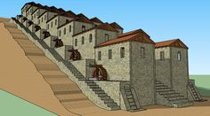 This model depicts the incredible Roman watermill complex at Barbegal, France.  At this facility, 16 overshot waterwheels were arranged like a flight of stairs on a hillside.  The wheels drove 16 millstones, which milled enough flour to feed the nearby city of Arles. This was the ancient world's most impressive power production facility.