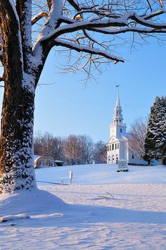 New Hampshire Vermont Snow in Connecticut - Congregational Church, Warren, Ct Old Country Churches, Old Churches, Snow Scenes, Winter Scenes, Connecticut, Big Sur, Orange County, San Diego, Church Building