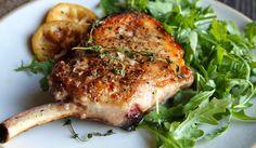 Seared Pork Chops with Warm Lemon Vinaigrette