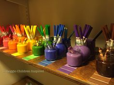 Color coordinated, organized, glass jars and the paint swatches. Space Classroom, Classroom Design, Classroom Decor, School Readiness Program, Childcare Activities, Preschool Rooms, Crafts For Kids, Arts And Crafts, Art Studio Organization
