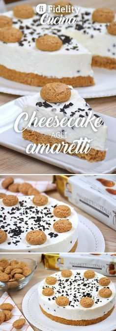 Cheesecake agli amaretti Oreo Cheesecake, Cheesecake Recipes, Pie Dessert, Dessert Recipes, Chess Cake, Italian Desserts, Cupcakes, Latte, Mets
