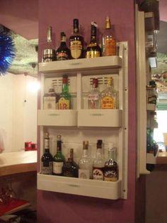 fridge elements repurposed as bar