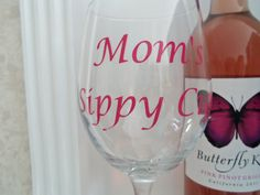 Personalized Moms Sippy Cup Wine Glass Gift by YouniquelyElegant  $15.00  #momssippycup, #wineglass, #wineglasses, #decorated, #design