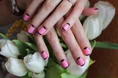 Black and pink nails, Exquisite nails, Half-moon nails ideas, Medium nails…