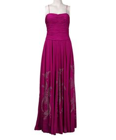 Fuchsia Ruched Flourish Gown
