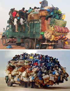 overloaded truck-cargo and people-funny