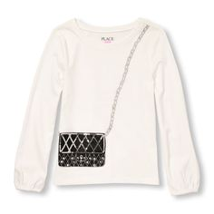 Girls Long Sleeve Embellished Graphic Top - White - The Children's Place