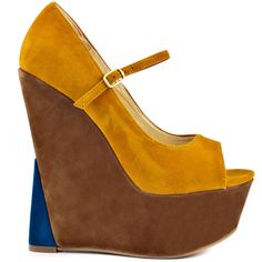Promise Shoes Women's Spotlite - Mustard ($38) ❤ liked on Polyvore featuring shoes, wedges, earth tone, sandals, multi color wedge shoes, ankle strap wedge shoes, shiny shoes, multicolor shoes and wedges shoes