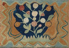 Wool Hooked and Shirred Floral Rug, America, 19th century, central floral design enclosed in an undulating and zigzag border, mounted on a wooden frame, (minor edge fraying), 31 x 44 in.   Estimate $3,000-5,000  Sold for $10,073