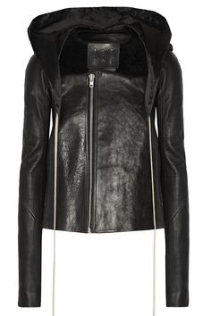RICK OWENS Shearling-Trimmed Leather Jacket. #rickowens #cloth #jacket