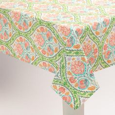 Betty F at World Market  Green and Pink Giselle Tablecloth | World Market