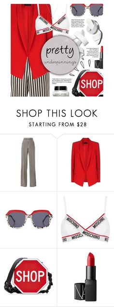 """""""Pretty Underpinnings: Red&Moschino"""" by the-amj ❤ liked on Polyvore featuring Etro, ESCADA, Preen, Moschino, Alexander Wang, Old Navy, NARS Cosmetics and Bobbi Brown Cosmetics"""