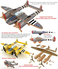 Famous War Birds P-38 Lightening Wood Toy Plan Set