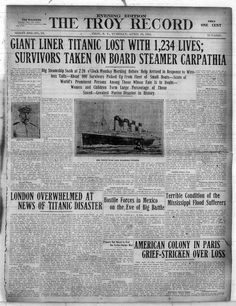 Front page of The Troy Record from April 16, 2012, featuring news of the Titanic.
