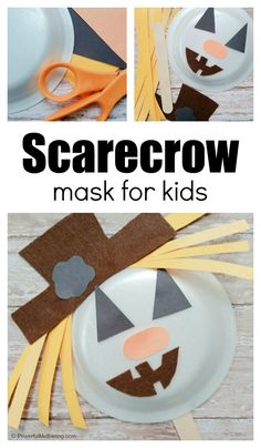 How to Make a Scarecrow Mask Scarecrow Mask, Make A Scarecrow, Halloween Scarecrow, Craft Activities For Kids, Toddler Activities, Crafts For Kids, Preschool Ideas, Craft Ideas, Halloween Songs