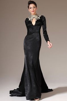 eDressit 2014 New Black Embroidered High Neck Long Sleeves Evening Gown (02140800)