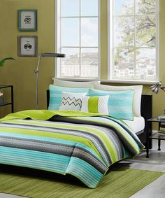 Another great find on #zulily! Teal & Gray Stripe Quilt Set  - mabye for Kody with skateboards...#zulilyfinds