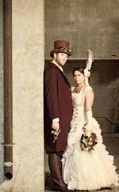 steampunk wedding picture ; love the dress