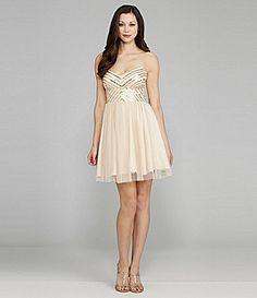 Champagne bridesmaid dress  sequin-embellished bodice  Aidan Aidan Mattox Spaghetti Straps Dress #Dillards