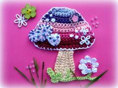 Crochet Mushroom Appliqué Pattern Rainbow mushroom by CrochAnna Crochet Squares, Crochet Motif, Crochet Designs, Crochet Flowers, Free Crochet, Crochet Crafts, Crochet Toys, Crochet Mushroom, Crochet Keychain