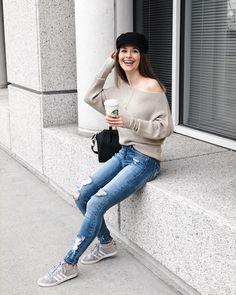 She Does Fashion: Baker Boy Hat and Denim  denim, distressed, Adidas, sneaker, baker boy hat, hat, #bakerboyhat, off shoulder, top, Starbucks, coffee, #butfirstcoffee, latte macchiato, Givenchy, antigona, #givenchyantigona, leather, luxury, Tiffany and co, jewelry, smile
