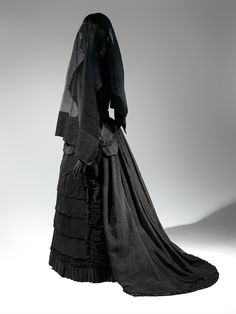 Mourning Ensemble, 1870-1872 Black silk crape, black mousseline