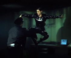 "Having one of the most beautiful pair of eyes I've ever seen, Carrie Ann Moss as ""Trinity"" from ""Matrix"" here in this most memorable moments of sci-fi movie history, showing us incredible moves which we have never seen before. Matrix was then ""Avatar"" of 90's."