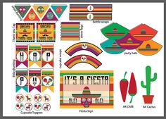 Mexican Fiesta PRINTABLE Party Pack by PapierasPrintables on Etsy