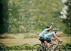 Communicating on road with another cyclist sometimes impossible, these hand signals are very important. These hand signals are used by every cyclist, feel free to share it with your cyclist buddy. Cycling Tips, Road Cycling, Road Bike, Cycling Rules, Bicycling Magazine, Hand Signals, Triathlon Training, Triathlon Club, Bike Design
