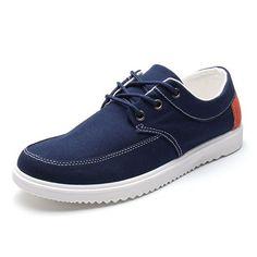 Men Canvas Color Match British Style Lace Up Flat Casual Sport Shoes