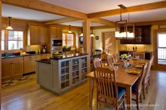 Open Concept Timber Frame Kitchen And Dining Room More