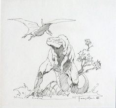 """Frank Frazetta - T-Rex & Pterodactyl Pen & Ink  6.75"""" x 6.5"""" The first piece of art I ever bought, purchased from Russ Cochran at an Orlando..."""