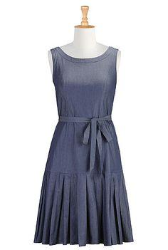 I <3 this Sash tie chambray shift dress from eShakti