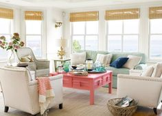 Coastal living room with pops of color
