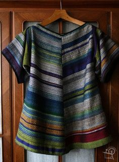 Ravelry: gwynk's Experiment or sampler tunic. I can't weave twill like this on my loom, but could do something similar in plain weave