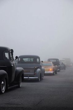 Classic Lowriders in the mist