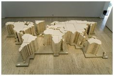 Ai Weiwei, World Map installation at the Biennale of Sydney, Australia Cotton and wooden base 1 x 8 x Ai Weiwei, Famous Contemporary Artists, Graffiti, China Map, Wei Wei, Political Art, Installation Art, Art Installations, Trees To Plant