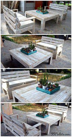 Wooden Pallet Furniture Set For #Patio   99 Pallets