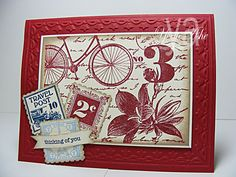 Another great Postage Due collage style card.  I love the color combo of cherry cobbler and very vanilla.