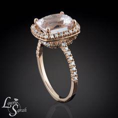 Cushion Cut Morganite Ring Engagement Ring by LaurieSarahDesigns, $2535.00