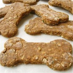 We love the dogs of Brit + Co., and one of our favorite ways to show our love is through homemade treats. They make for a fun baking project that won't lead to you downing a tray full of cookies! Here are 12 of our favorite recipes to whip up. Just remember, before you make any homemade treats for your pet, check this list of foods that are hazardous to dogs. It's a good link to bookmark if you're a pet owner.